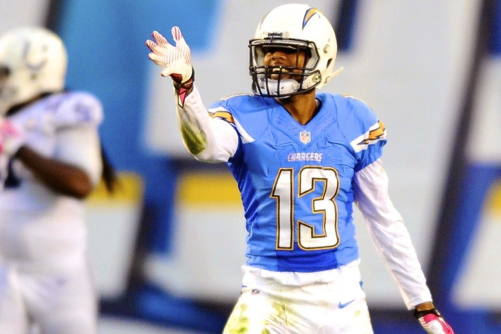 Oct 14, 2013; San Diego, CA, USA; San Diego Chargers receiver Keenan Allen (13) celebrates after a first down during the first half against the Indianapolis Colts at Qualcomm Stadium. Mandatory Credit: Christopher Hanewinckel-USA TODAY Sports